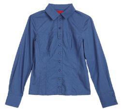 Beiläufige Form-blauer Polo-Hemd-Kragen der Frauen (LSBO001)