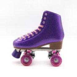 OEM의 새로운 그라데이션 글리터 쿼드 디스코 롤러 스케이트 퍼플르