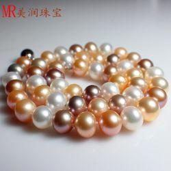 Mélange de couleurs naturelles ronde véritable Collier de perles d'eau douce (FR1428)