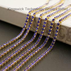 Rhinestone decoración ropa de la cadena de la copa de cristal de vidrio