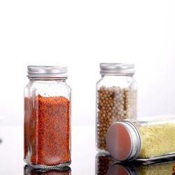100ml Square Vazio frasco de vidro do aparelho de cozinha Agitador Pimenta Sal