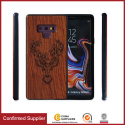 Real-Wood-Rückabdeckung PU-Material Edge Protective Phone Case für iPhone Android