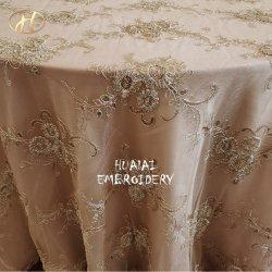 """120 """" 메시에 호화스러운 결혼식을%s 둥근 Champagne 3D 꽃 레이스 자수 테이블 피복 리넨"""