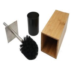 Brosse wc écologique et titulaire de la poignée en acier inoxydable et le couvercle pour tous les types de toilette avec sanitaire brosse wc en bambou de stockage