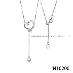 方法銀の宝石類の長い鎖の真珠の中心のペンダントのネックレス