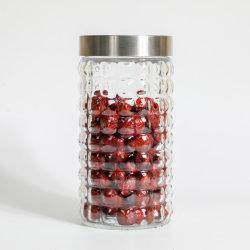 قنينة زجاجية من الفولاذ المقاوم للصدأ، علب المطبخ للفلور، حبوب، قهوة، حاويات زجاجية لتخزين الفقاعات المربعة، منتجات زجاجية لتخزين الطعام الإيكولوجية