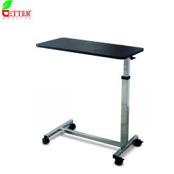 En acier chromé médicale de base Non-Tilt Auto-Touch Overbed Table avec le bois Haut de page