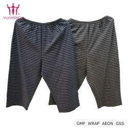 Ocio personalizada algodón chico/hombre/mujer recortada del tejido de rayas pantalones/pantalones/hombre de la Ropa Homewear/pantalones la marca del grupo