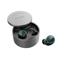 True auricular inalámbrico Bluetooth, estuche de carga con cubierta giratoria, la plata