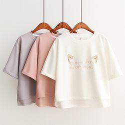 Haut de la récolte OEM personnalisé femmes fashion T shirt avec broderie logo d'impression et fentes latérales