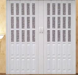 Estándar de color marrón oscuro interior de la puerta de cuarto de baño plegable de PVC de 6mm