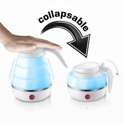 0.6LはFoldable携帯用旅行熱湯暖房の茶コーヒーミルクのボイラー電圧熱絶縁体の電気やかんのシリコーン二倍になる