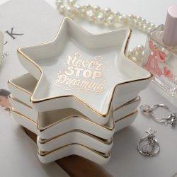 Magnifique en forme de cinq étoiles de personnaliser l'anneau en céramique plats Stikcer désherbage décoration