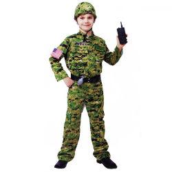 Hot Sale garçons soldat cosplay costume uniforme militaire professionnelle Halloween avec un téléphone mobile