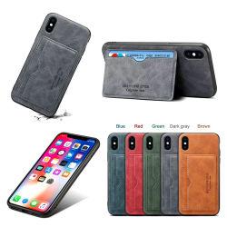 IPhone X бизнес подлинной кожи крупного рогатого скота сотовый телефон крышки картера с помощью слота для карты памяти (F1201 соответствует ожидаемому)