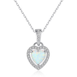 S925 Silver CZ delicado Opal coração de pedra Colar Pendente