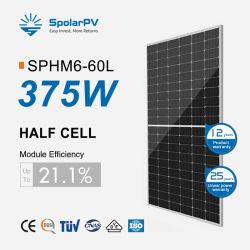 166mm meia célula Mono 375W 380W Painel Solar