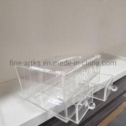 Acrílico transparente de alta calidad personalizada maquillaje cosmético Organizador de la casilla Mostrar con 2 cajones