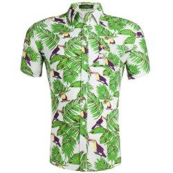 100% algodão Casual manga curta Impressão Floral Botão Hawaiian Beach Hawaiian Shirt para homens