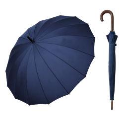 El alto grado de apertura automática de 16 costillas derechas paraguas con mango de madera para los hombres y mujeres (YZ-20-16)