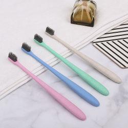 Commerce de gros bon marché biodégradable personnalisée Eco la paille de blé de carbone de bambou brosse à dents