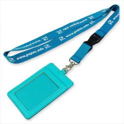 Convention nom PU en cuir/détenteur de carte ID d'un insigne le rabatteur cordon personnalisé pour l'ID d'un insigne