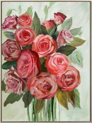 Fleur rouge en vert Image d'huile avec HP pour l'art mural GF-P190522122