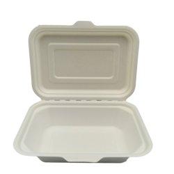 Bagaço de cana-de-louça biodegradável balde de pasta de papel Embalagem Caixa de almoço