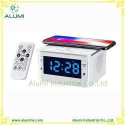 Relógio de alarme de estação de ancoragem de carregamento sem fios para telefone celular