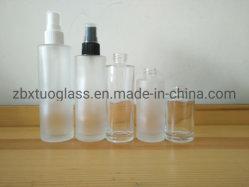 Forma redonda de alimentação do vaso de perfume vazio garrafa spray de plástico com tampa branca