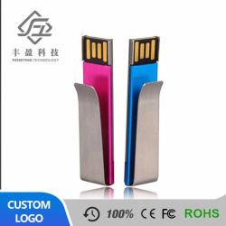 Abraçadeira metálica de papel cartão USB, clip pendrive USB de 8GB, Mini-Clip com o logotipo USB