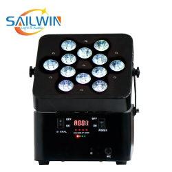 12 * 18W 6in1 Rgbaw UV 배터리 전원 무선 IRC LED 파 라이트