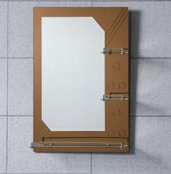 ガラス棚が付いている卸し売り中国の安い価格の二重層の装飾的な樹脂の芸術の斜角端の浴室の救助ミラー