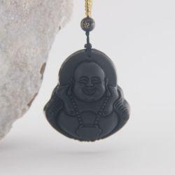De beste Zwarte van het Kristal Gelukkige Boedha Halsband van Liuli met de Zwarte Ketting van de Parel van het Kristal voor de Tempels van het Boeddhisme van Frankrijk