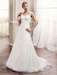 Vestido de novia de tafetán de la manga del casquillo del vestido nupcial de la boda de espalda abierta