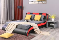 Двуспальная кровать дизайн комнаты мебель PU кровать с обивкой спинки сиденья