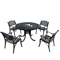 Fire Pit를 가진 던지기 Aluminum Black Color BBQ Table Sets