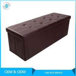 Stockage de surface en cuir étanche pliable Blanchisserie Banc de boîte/Ottoman