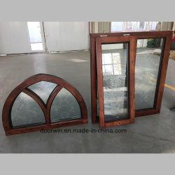 Openslaand raam van het Eiken Hout van Noord-Amerika het rond-Hoogste Stevige Rode met Gesneden Glas