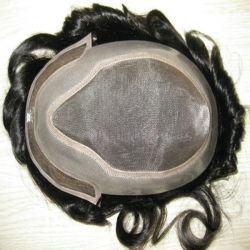 Тонкой Ancora моно передней французского кружева с обесцвеченными узлов замены Toupee волос