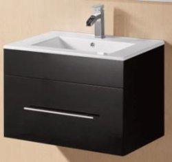 Het moderne Zwarte Glanzende MDF Kabinet van de Ijdelheid van de Badkamers met Spiegels (ebbehouten-750)