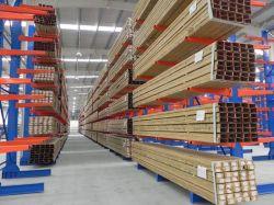 Cantiléver face dupla de armazenamento de Metal Rack de madeira