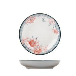 Super hôtel de qualité de la porcelaine de 7 pouces de la plaque plat couleur Undeglaze fleur imprimé personnalisé Dîner de la céramique vaisselle résistant à la chaleur de la plaque belle vaisselle couverts