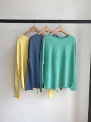 긴 소매 100%년 면 이음새가 없는 의복을%s 가진 여자의 편물 스웨터
