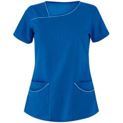 2021 OEM Medical 의류 병원 유니폼 티셔츠 사용자 정의 V-넥 간호사 스크럽 탑 인쇄