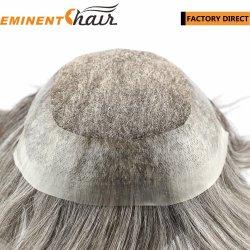 Repère naturel V bouclé hommes Toupee perruque de cheveux humains