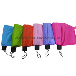 21pulgadas Pongee plegado manual abrir 3 paraguas (3FU012)