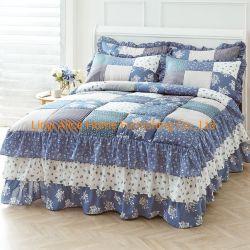 blaues Patchwork 100%Cotton Qulted Steppdecke-Bettdecke Bedskirt Bettwäsche-Set