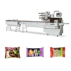 Automatico a blocco singolo fritto di pasta fritta immediata/ pane/ biscotto/ piccoli alimenti Sacchetto a pouch orizzontale imballaggio confezionamento macchina avvolgitrice Flow