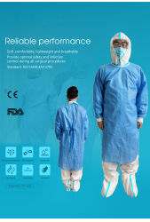 Verstärktes chirurgisches Wegwerfkleid und mit gestricktem Stulpe-blauem chirurgischem Kleid